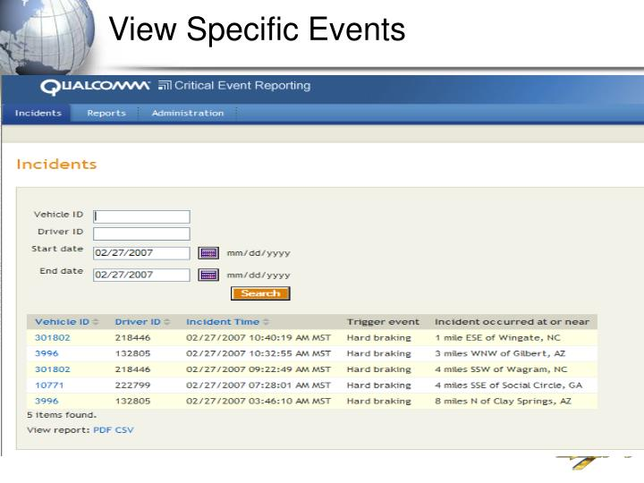 View Specific Events