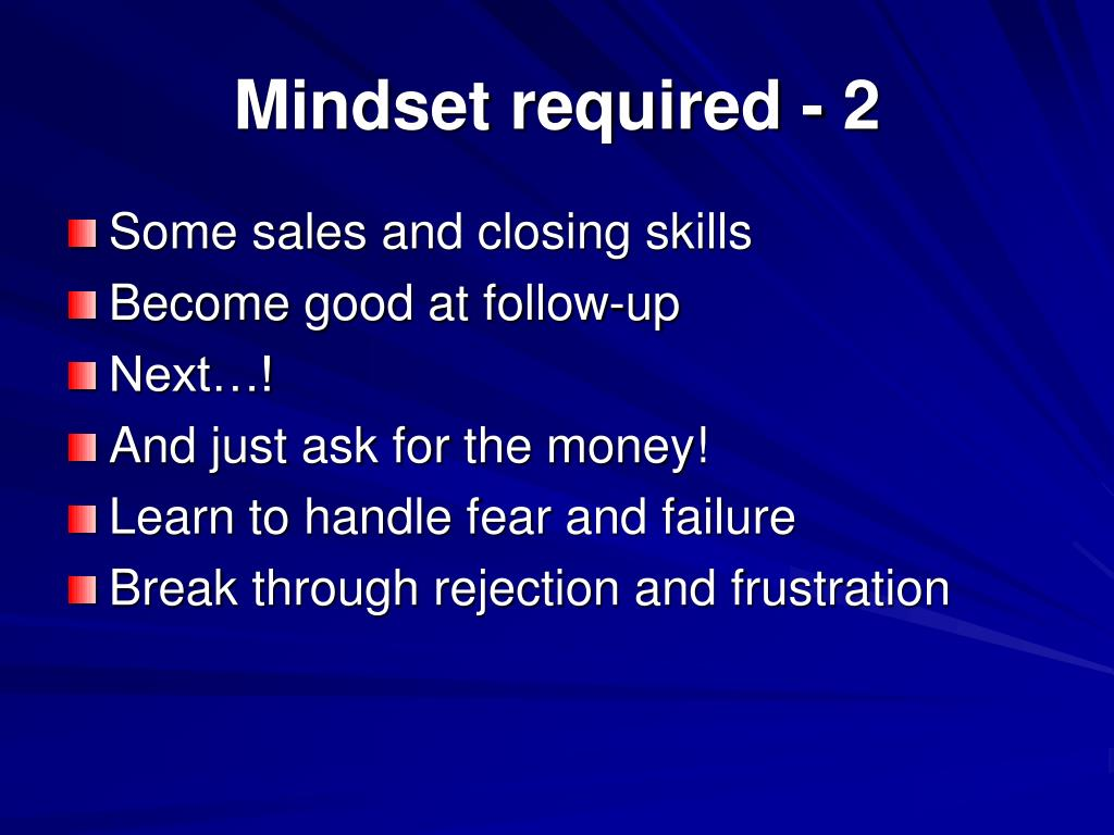 Mindset required - 2