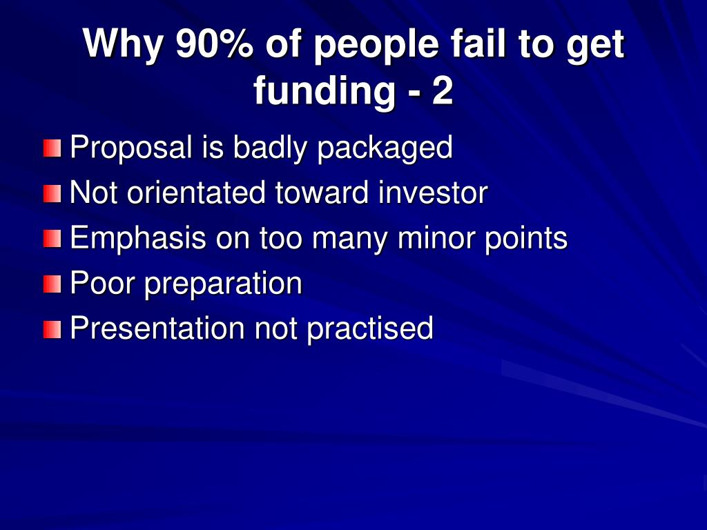Why 90% of people fail to get funding