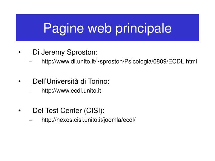 Pagine web principale