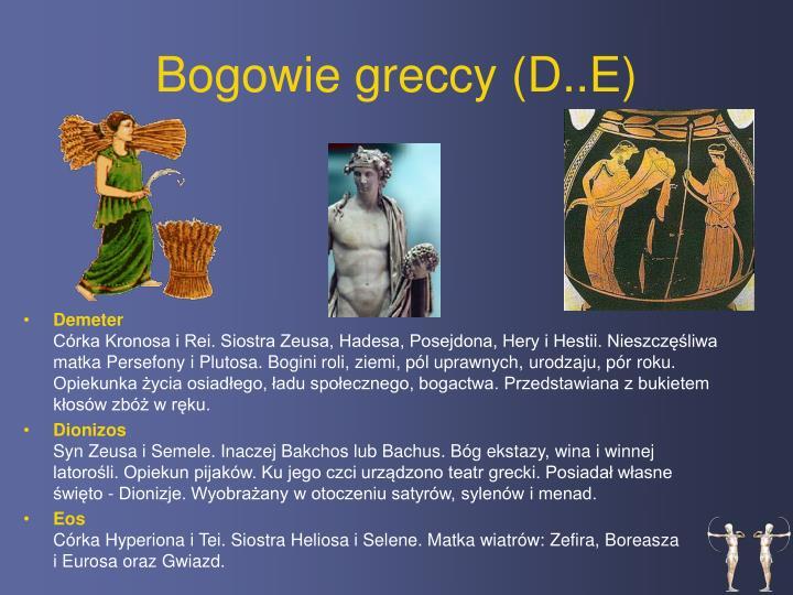 Bogowie greccy (D..E)