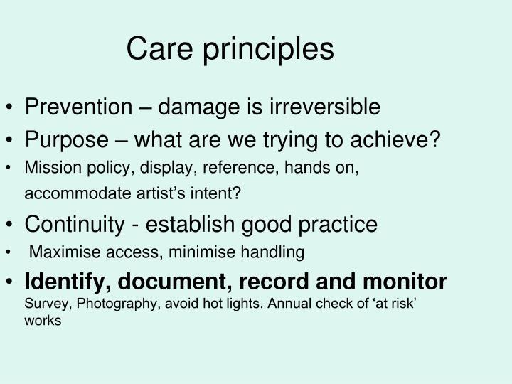 Care principles