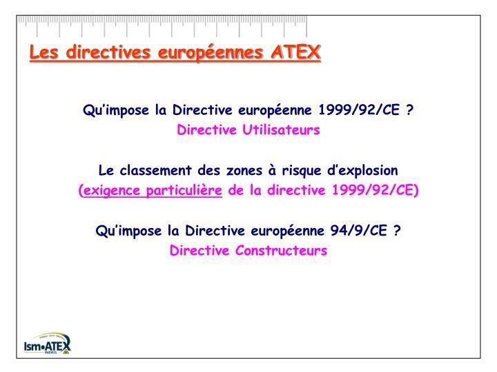 Les directives européennes ATEX