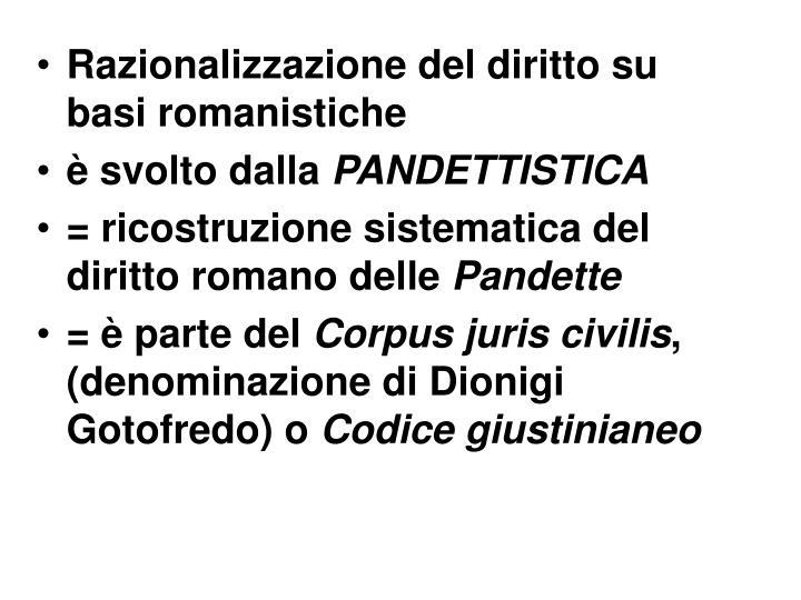 Razionalizzazione del diritto su basi romanistiche