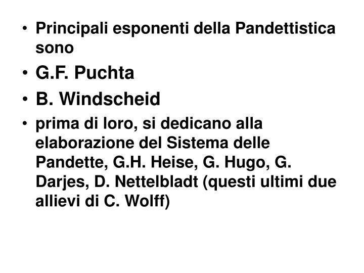 Principali esponenti della Pandettistica sono