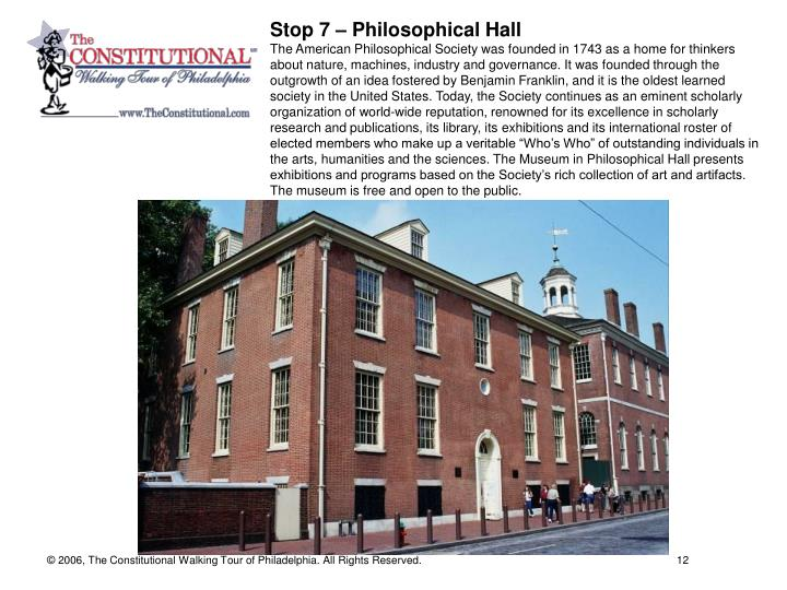 Stop 7 – Philosophical Hall