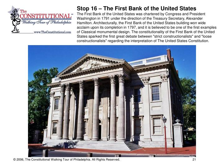 Stop 16 – The First Bank of the United States