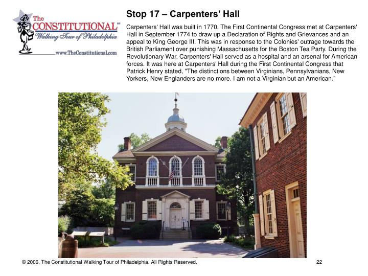 Stop 17 – Carpenters' Hall