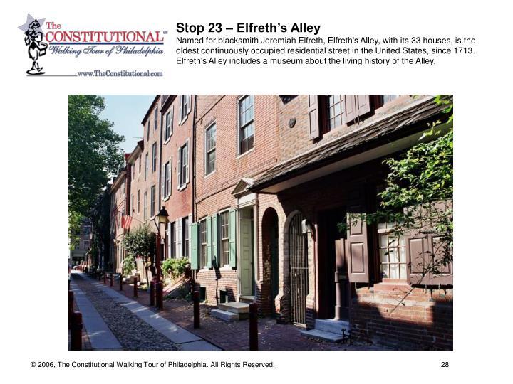 Stop 23 – Elfreth's Alley