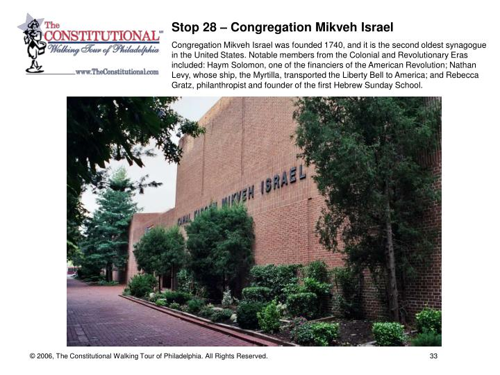 Stop 28 – Congregation Mikveh Israel