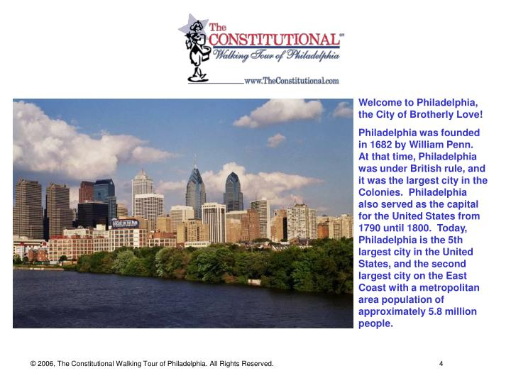 Welcome to Philadelphia, the City of Brotherly Love!
