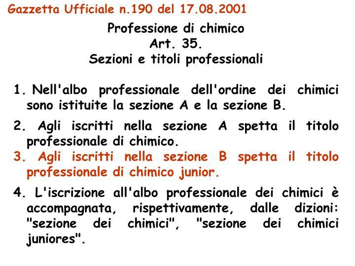 Gazzetta Ufficiale n.190 del 17.08.2001