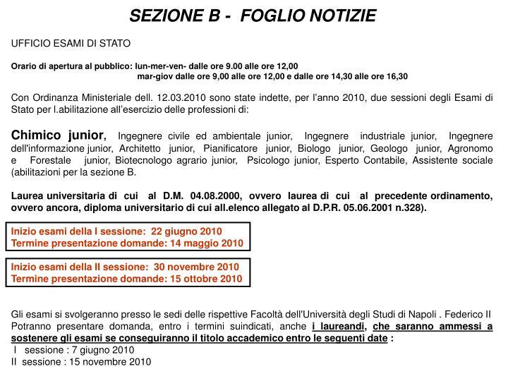 SEZIONE B -  FOGLIO NOTIZIE
