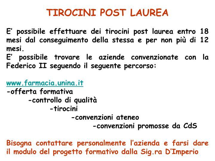 TIROCINI POST LAUREA