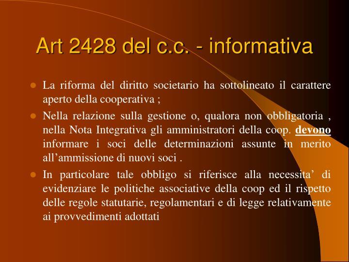 Art 2428 del c.c. - informativa