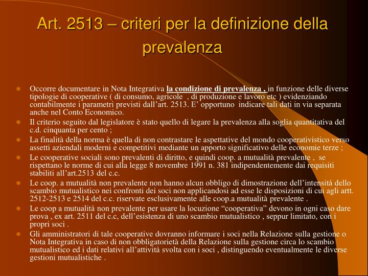 Art. 2513 – criteri per la definizione della prevalenza