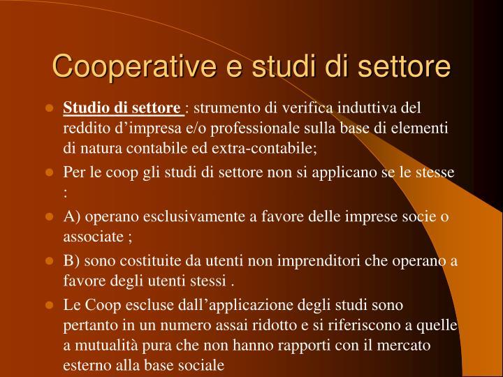 Cooperative e studi di settore