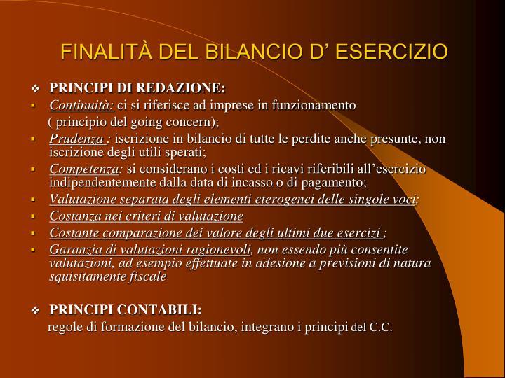 FINALITÀ DEL BILANCIO D' ESERCIZIO