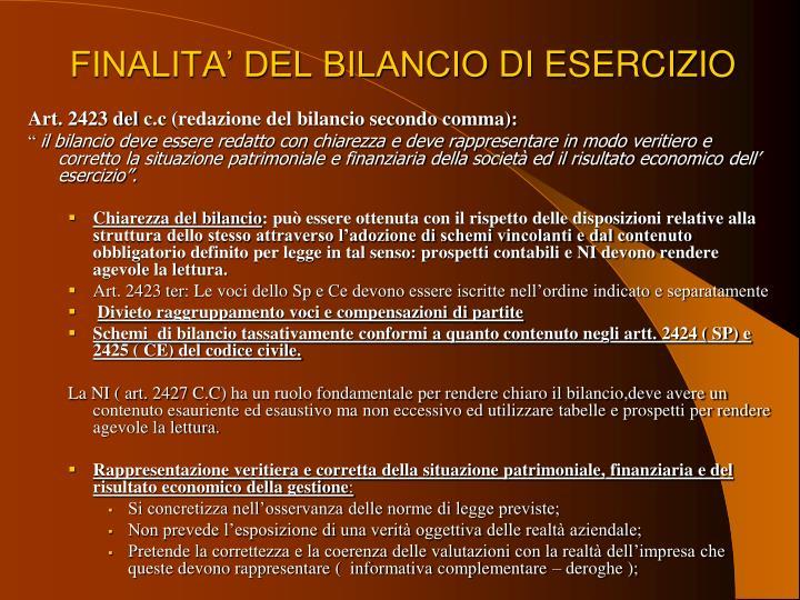 FINALITA' DEL BILANCIO