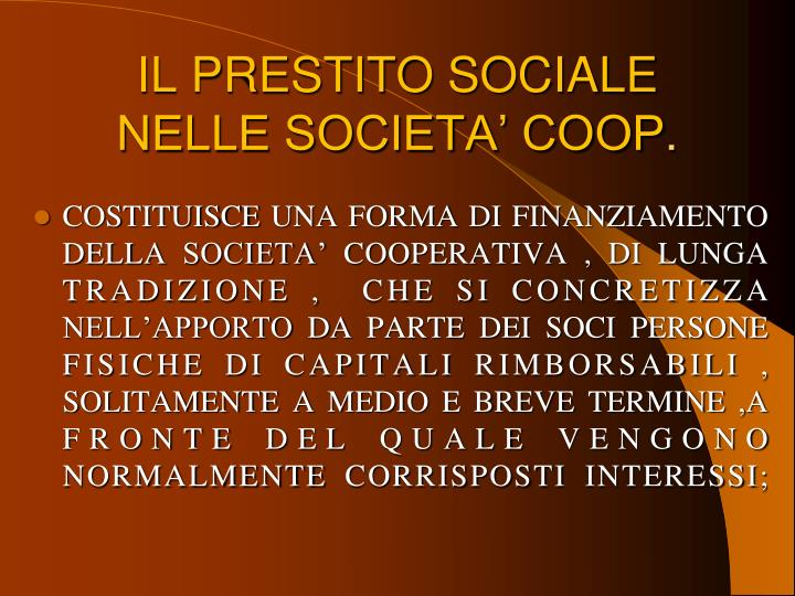 IL PRESTITO SOCIALE NELLE SOCIETA' COOP
