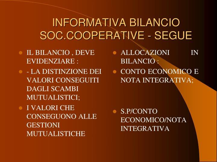 INFORMATIVA BILANCIO