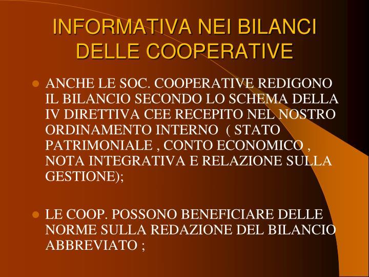 INFORMATIVA NEI BILANCI DELLE COOPERATIVE