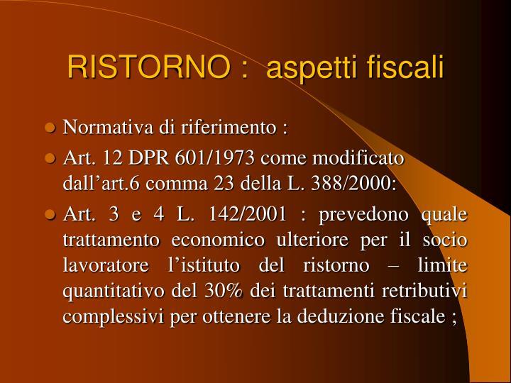 RISTORNO :  aspetti fiscali
