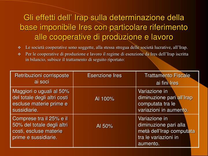 Gli effetti dell' Irap sulla determinazione della base imponibile Ires con particolare riferimento