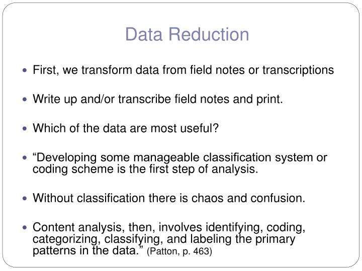 Data Reduction