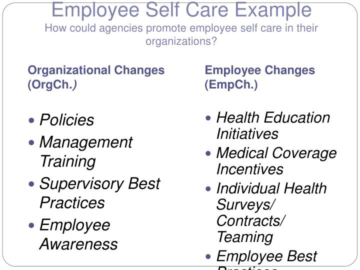 Employee Self Care Example