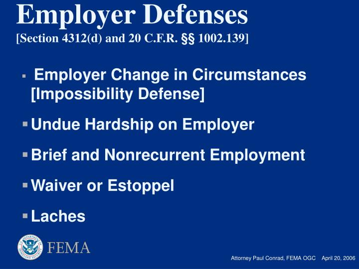 Employer Change in Circumstances [Impossibility Defense]