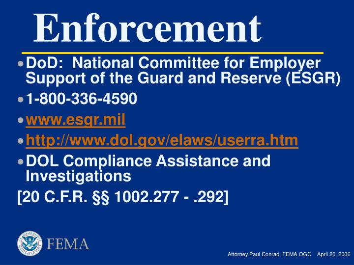 DoD:  National Committee for Employer Support of the Guard and Reserve (ESGR)