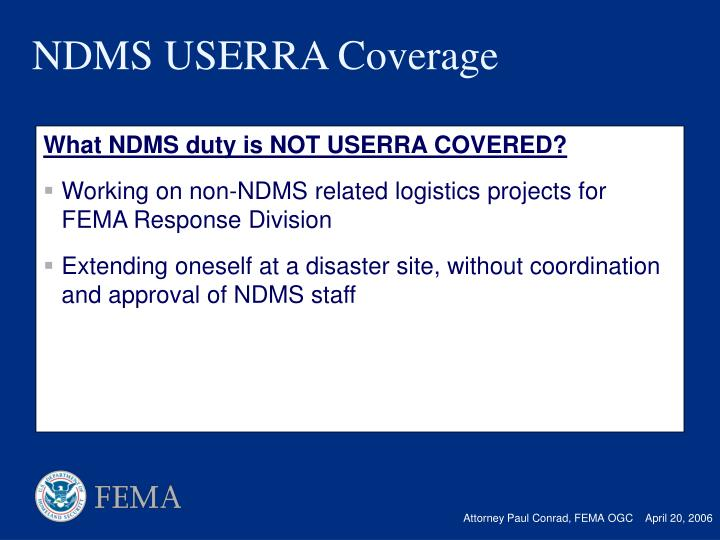 What NDMS duty is NOT USERRA COVERED?