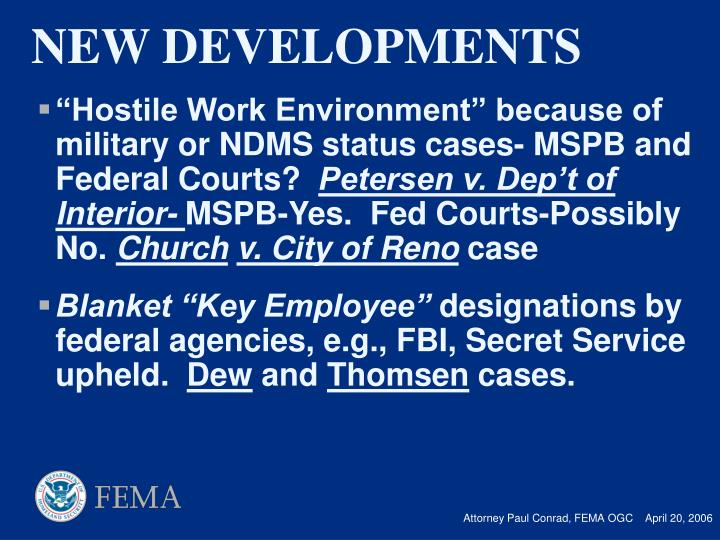 """Hostile Work Environment"" because of military or NDMS status cases- MSPB and Federal Courts?"