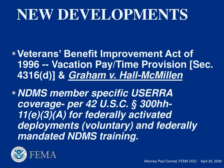 Veterans' Benefit Improvement Act of 1996 -- Vacation Pay/Time Provision [Sec. 4316(d)] &