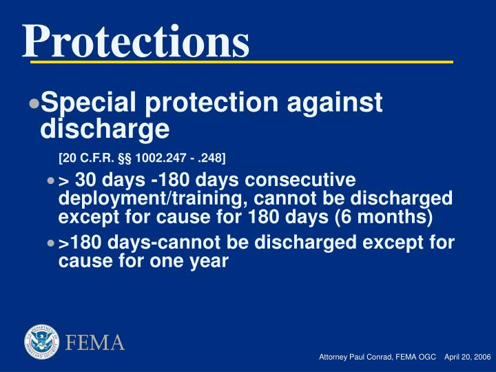 Special protection against discharge