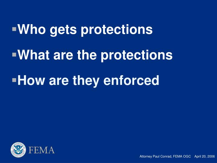 Who gets protections