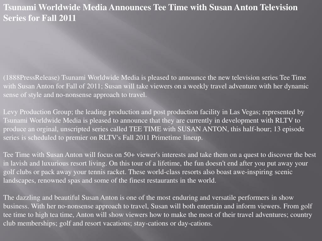 Tsunami Worldwide Media Announces Tee Time with Susan Anton Television Series for Fall 2011