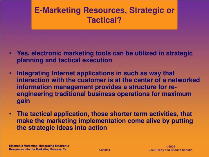 E-Marketing Resources, Strategic or Tactical?