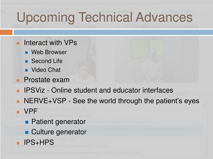 Upcoming Technical Advances