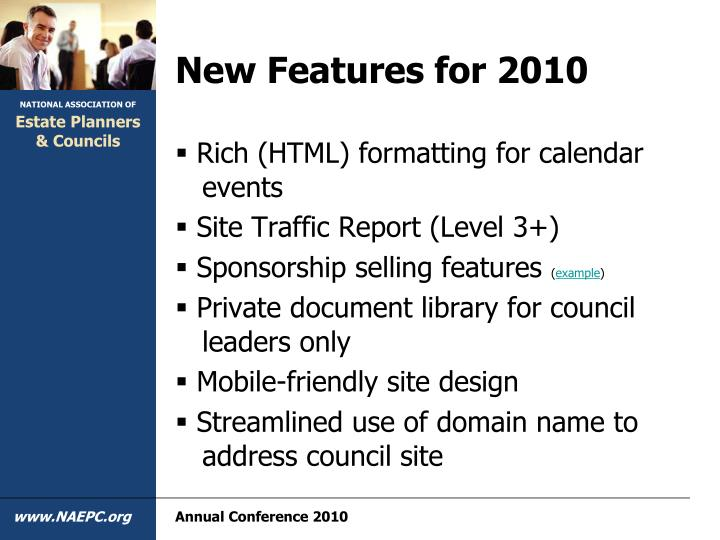 New Features for 2010