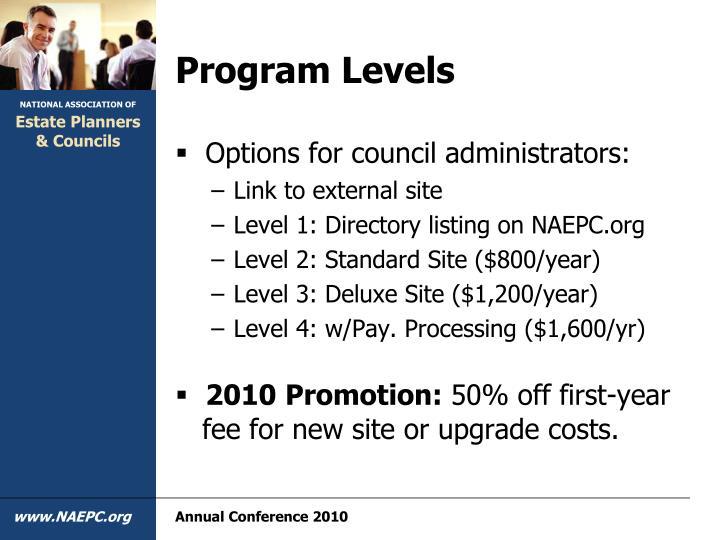 Program Levels
