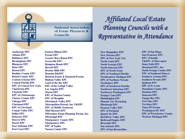 Affiliated Local Estate Planning Councils with a Representative in Attendance