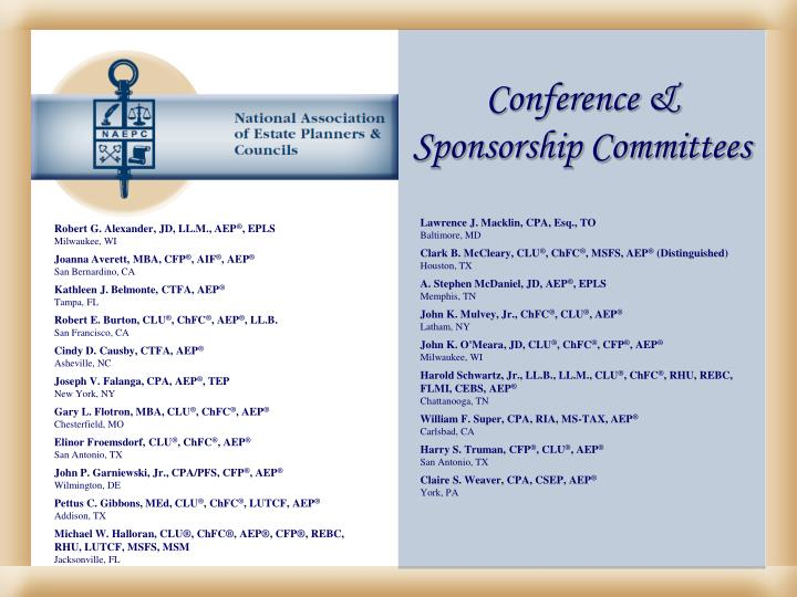 Conference & Sponsorship Committees