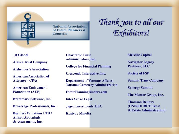 Thank you to all our Exhibitors!