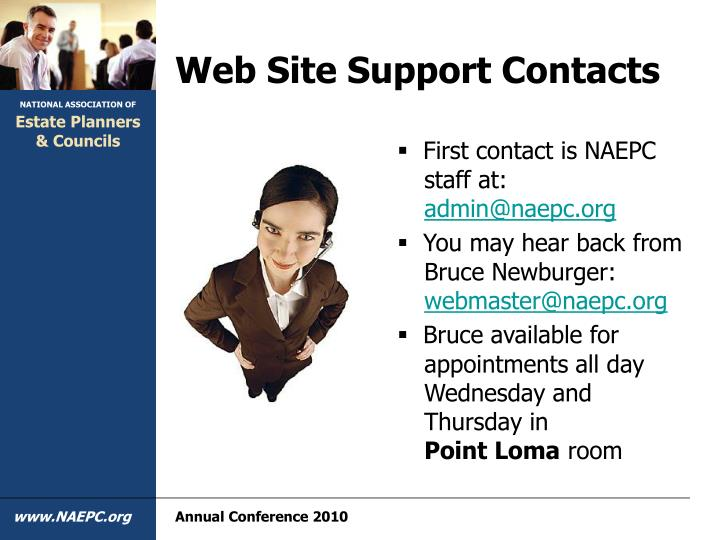 Web Site Support Contacts