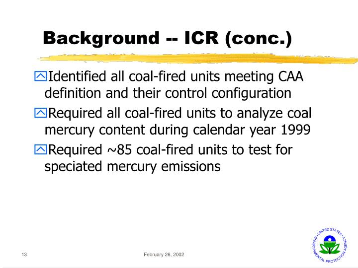 Background -- ICR (conc.)