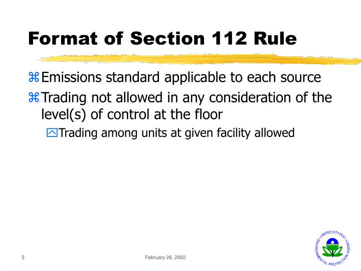 Format of Section 112 Rule