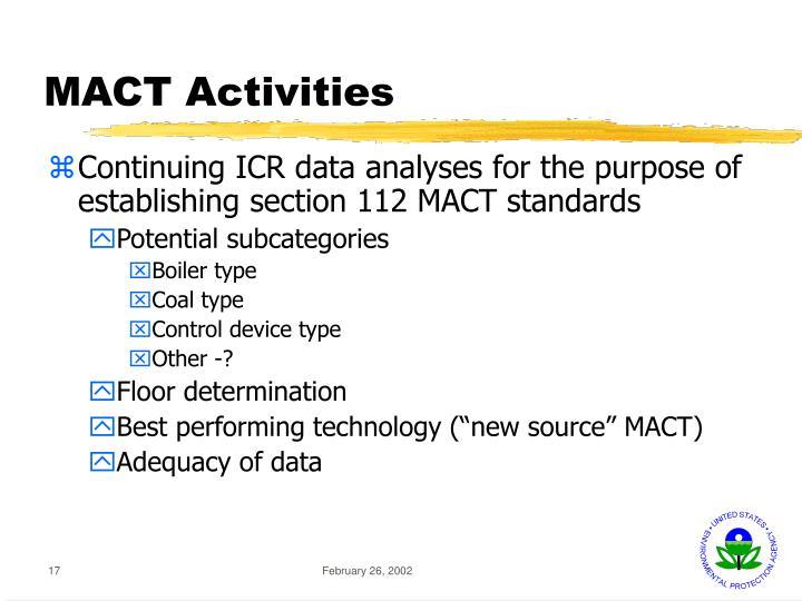 MACT Activities
