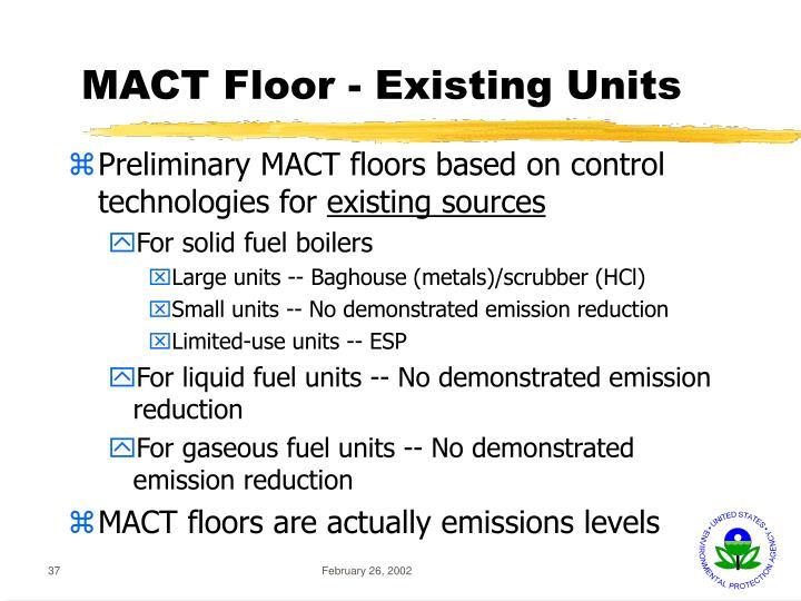 MACT Floor - Existing Units